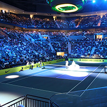 Great Tennis - Davis Cup Germany and Switzerland with new portable flooring systems by HARO Sports