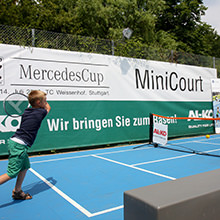 Little tennis talents on sports floors like the Big Boys - HARO Sports supports teaching projects of the Bavarian and Baden-Wuerttemberg tennis associations with portable Pro-Tennis Court