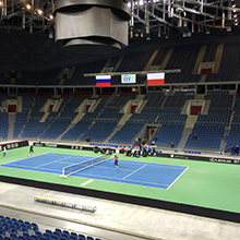 Seven at Once - Three Fed Cup tournaments simultaneously on seven portable tennis courts from HARO Sports