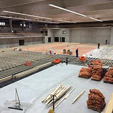 Von der Gartenschau zur Sportschau - Sportboden von HARO Sports Flooring für Basketballer in der Inselparkhalle in Hamburg Wilhelmsburg