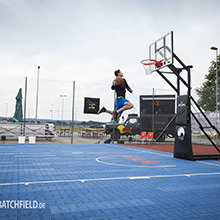 """Cage"" successfully joined the 3x3 series. - A promising street ball event in Bad Aibling, Germany with the new HARO Sports outdoor floor RIO"
