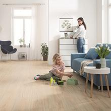 DISANO by HARO SmartAqua – der smarte Designboden für junges Wohnen, auch für Bad und Küche